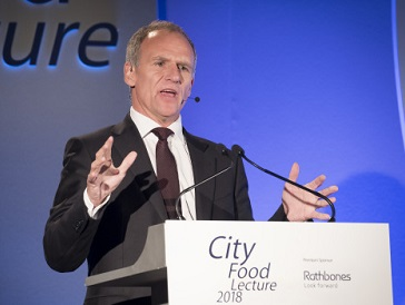 Dave Lewis at the City Food Lecture 2018